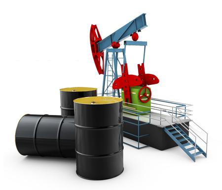 Black metal oil barrels and  pump on white background Stock Photo