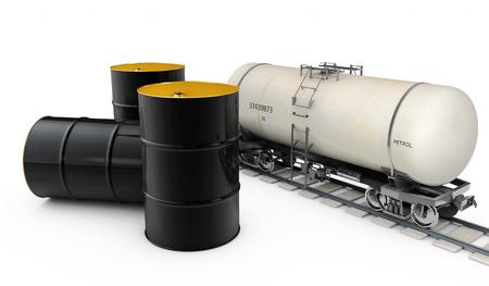 riesgo quimico: Black metal oil barrels and  pump on white background Foto de archivo