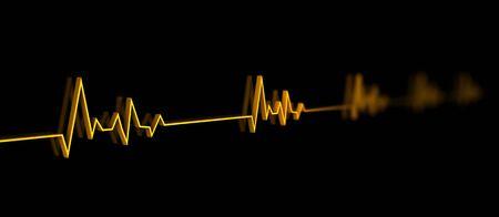 cardioid: Ilustración 3D de ecualizador, o electrocardiograma, con fluctuaciones en forma de corazón
