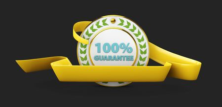 Customer satisfaction guaranteed gold badge and banner in yellow. 3d Illustration isolated black