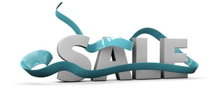 White sale sign over band background. 3d illustration.