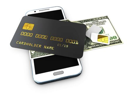 3d illustration of detailed black locked credit card on the phone with simcard isolated white background