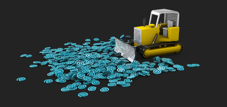 metaphoric: 3d Illustration of Bulldozer in work, creation process concept. isolated black