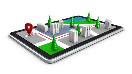 3d Illustration of map with Pin Pointer and tablet isolated