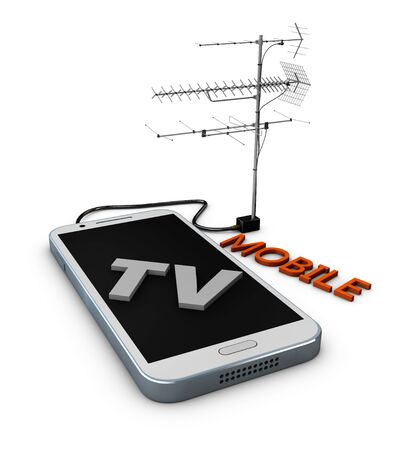 3d Illustration of mobile phone tv isolated white Stock Photo