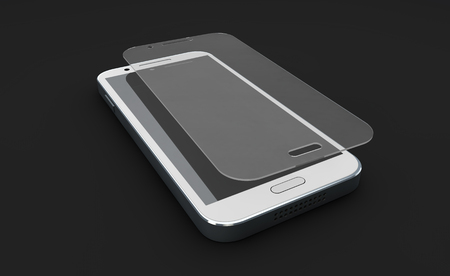 Screen protect Glass. Mobile accessory. 3d illustration, isolated black Banco de Imagens
