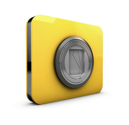 digicam: 3d Illustration of yellow camera icons on white background Stock Photo