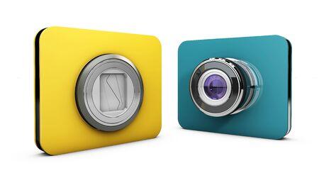 3d Illustration of blue camera icons on white background