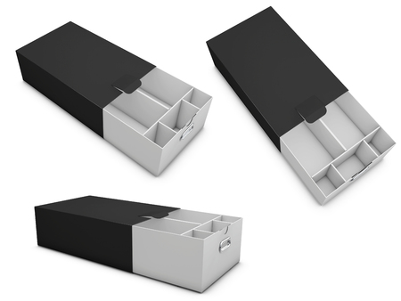 3d Illustration of Three realistic empty shoe boxes with sections Stock Photo