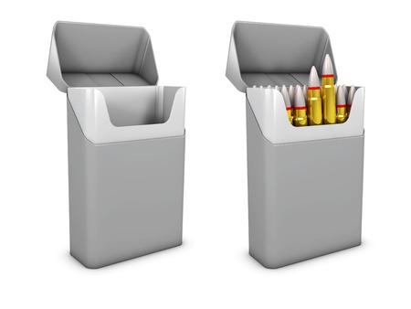 3d Illustration of gray cigarette pack mockup, smoking kills, isolated white