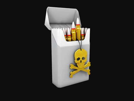 3d Illustration of gray cigarette pack mockup with skull, smoking kills, isolated black