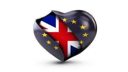 Illustration of EU Flag and flag of United Kingdom, isolated white