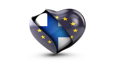 Illustration der EU-Flagge und die Flagge von Finnland, isoliert weiß