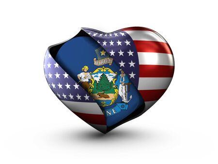 maine: USA State Maine flag on white background.