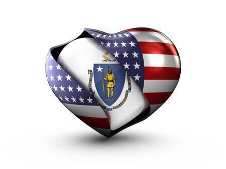 USA State Massachusetts flag on white background. Stock Photo