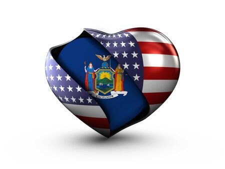 national geographic: USA State New York flag on white background.