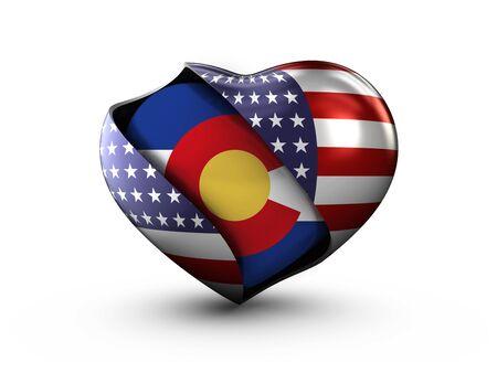 flag of colorado: USA State Colorado flag on white background.