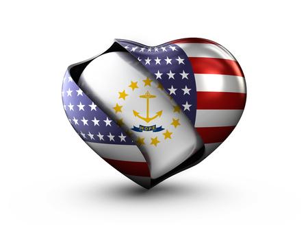 USA State Rhode Island flag on white background.