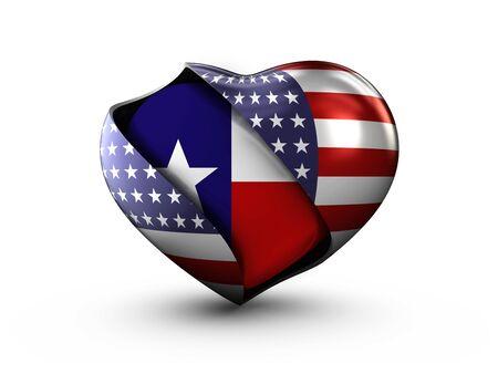 USA State Texas flag on white background.
