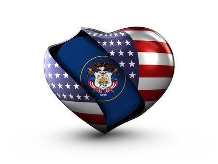 USA State Utah flag on white background. Stock Photo