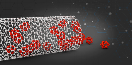 nanotube: illustration of nanotube molecule on black backround