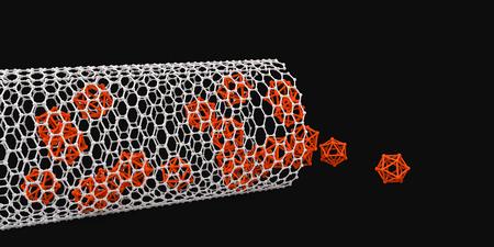 nanoparticle: illustration of nanotube on black backround