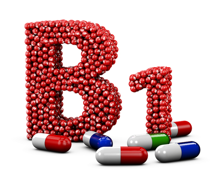 Illustration of Letter B1 made of vitamin. Isolated white. Stock Photo