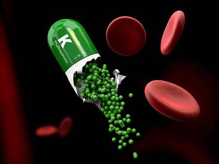 biochemical: Illustration of Vitamin K Capsule dissolves in the stomach Stock Photo