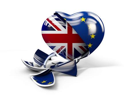 Illustration of UK Brexit, European Union broken Stock Photo