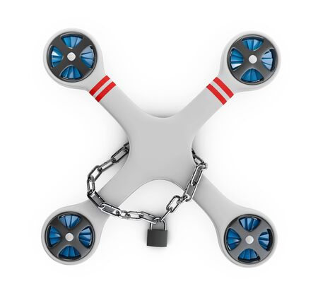 A Gray flat drone quadrocopter locked for use, 3d Illustration isolated white