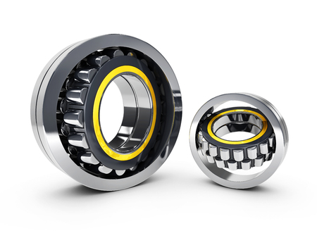 two metal bearings. 3d illustration. isolated white