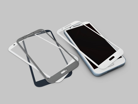 Screen Protector Glass. 3d illustration of transparent glass for mobile phone. on gray background