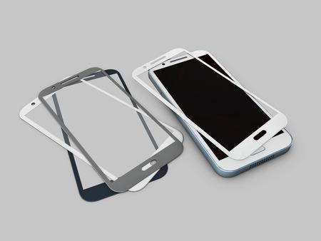 Screen Protector Glass. 3d illustratie van transparant glas voor mobiele telefoon. op grijze achtergrond Stockfoto