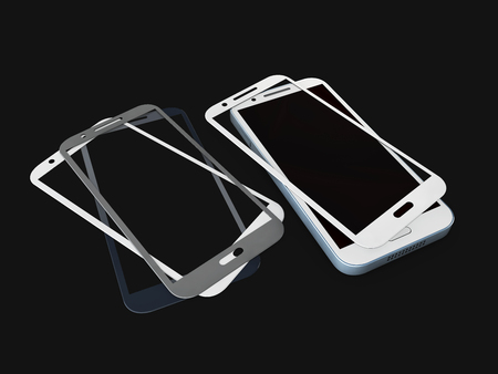 Screen Protector Glass. 3d illustration of transparent glass for mobile phone. on black background