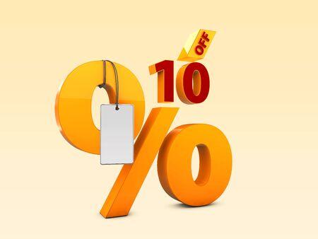 10 Off Special offer sale 3d illustration, Discount offer price symbol