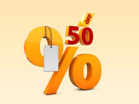 50 Off Special offer sale 3d illustration, Discount offer price symbol