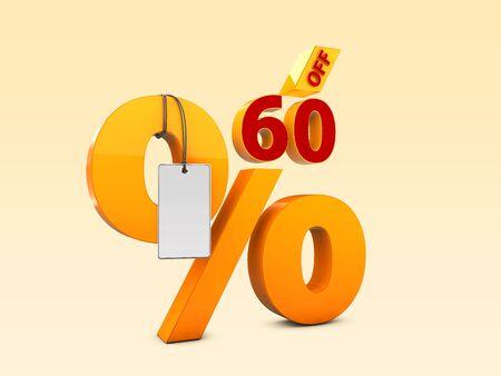 60 Off Special offer sale 3d illustration, Discount offer price symbol