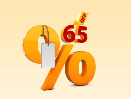 65 Off Special offer sale 3d illustration, Discount offer price symbol Stock Photo