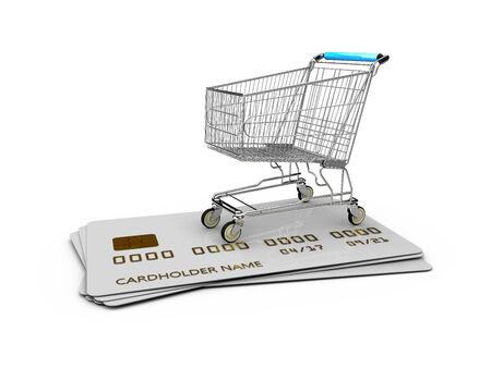 Empty Trolley on the credit cards, 3d Illustration isolated White