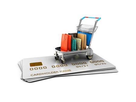 Trolley on the credit cards with gift packages, 3d Illustration isolated White