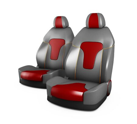 Gray and Red car seats. Automobile details, isolated white