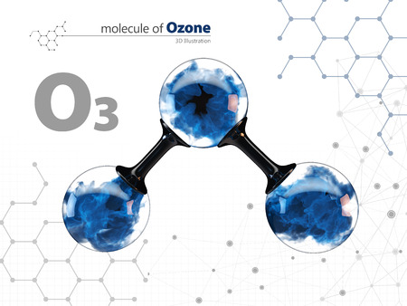 Molecule of ozone with with tehnology background.