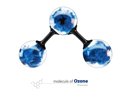3d Illustration, molecule of ozone. isolated white 스톡 콘텐츠