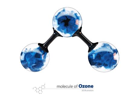 3d Illustration, molecule of ozone. isolated white Stock Photo