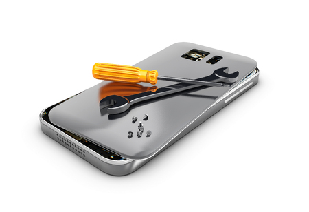 3D illustration, Mobile phone repair. Broken mobile phone with screwdriver and spanner. Stock Photo
