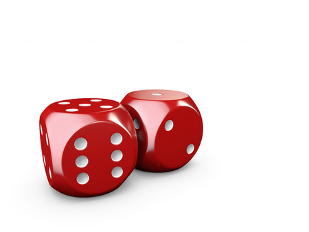 3d Illustartion of casino dices. isolated white