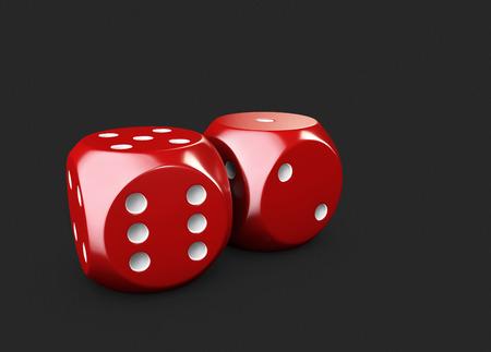 3d Illustartion of casino dices. isolated black