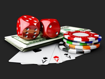 Casino Dices, Play Card, Money and Poker Chips. isolated black. 3d Illustration