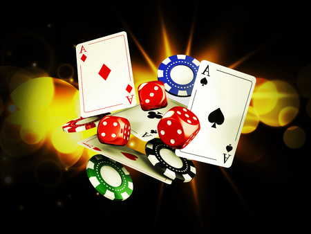 Casino background with cards, chips and craps on bright light. 3d illustration.