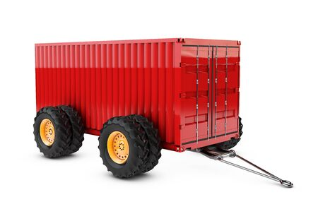 3d illustration of Cargo container on the four wheels, isolated on white background Stock Photo